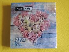 20 Servietten ROSES IN SHAPE Rosen HERZ 1 Packung OVP Schmetterlinge Paper Desig