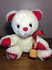 Rare Vintage 1986 Applause Valentines Teddy Teddy Plush Bear w/ Stamp I Love You