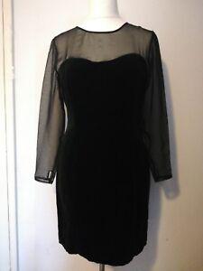 Vtg Black Velvet Sheer Sleeves Sheath Dress UK 14 Goth 80s Prom open back 90s
