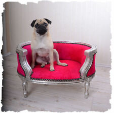 ROYAL DOGS DOGS BED SOFA IN BAROQUE STYLE PINK & WOOD PUG BULLY