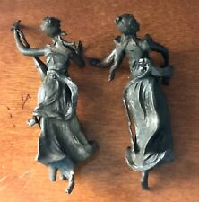 "PAIR Bronze Auguste Moreau 9"" Maiden lute garland lamp lady statue sculpture"