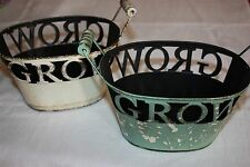 "NEW - Lot of 2 - Ashland Garden Collection Metal ""GROW"" Basket Planters"
