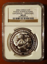 2006 Panda NGC MS69 Horticultural Expo Shenyang China Silver 1oz 10 Yuan Chinese