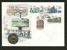 5 Mark Numisbrief Berlin Weltzeituhr, Brief mit Münze und Satz 750 Jahre Berlin