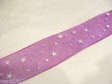 5m x 25mm Organza Ribbon : 69 Purply Cerise/White Statrs