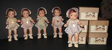 "♚1930's ORIG Set 7"" FLOWERED ROMPERS MADAME ALEXANDER DIONNE QUINTUPLET DOLLS"