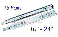 """15 Pairs 10""""-24"""" Full Extension 100-lb Ball Bearing Drawer Slides Slider SL02"""