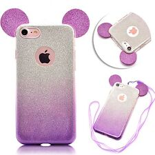 For iPhone 7 - Hard TPU Rubber Case Cover Purple Silver Shiny Glitter Mouse Ears