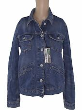 benetton giacca jeans denim donna blu taglia s small manica lunga