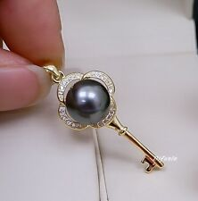 CHARMING AAA 11MM SOUTH SEA GENUINE BLACK PEARL PENDANT NECKLACE