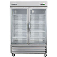 Maxx Cold MXCR-49GD Commercial Two 2 Double Glass Door Refrigerator Cooler 49cf