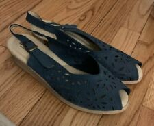 Spring Step Made In Italy Women Slingback Leather Blue Sandals Size 41 Eur 10 US