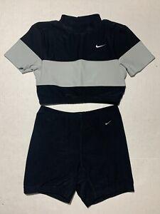 NIKE Vintage 2 Piece Set Womens Workout Crop Top Shorts Black Gray Size M EUC