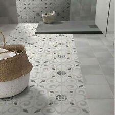 Sample: Antique Grey Encaustic Effect Patterned Wall & Floor Tiles Moroccan LEA