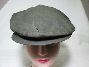 Waxed Cotton Green Flat Cap - Size L