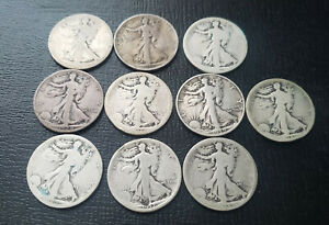 10 SILVER WALKING LIBERTY HALF DOLLARS