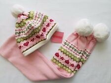 Gymbore Hat & Scarf Set Pom Pom Fair Isle Hearts Pink Green Size 3-4 NWT