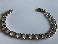 Heavy Stunning Vintage Hallmarked Solid Sterling Silver Curb Bracelet 16.4g