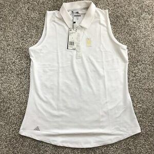 adidas Women's Ultimate Heathered Sleeveless Polo Shirt White DQ0542 Size Large