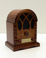 Music Box Radio Cathedral Top Wood Beautiful Piece! New with Box Beethoven #9