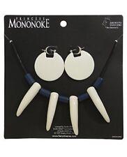 Studio Ghibli Princess Mononoke White & Blue Ivory Replica Necklace & Earrings