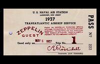 Framed Print - Transatlantic Airship Service Zeppelin Guest Pass 1937 (Picture)