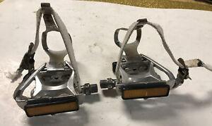 """vintage Suntour Cyclone pedals +toeclips +straps, 9/16"""""""