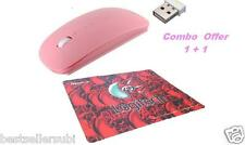 Terabyte Ultra Slim Wireless Mouse pink Colour 2.4 GHz with Logitech mouse pad