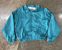 Vintage Women's Basic Rituals Zip Up Collared Winbreaker Jacket Sz Small Green