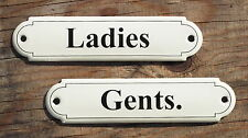 CLASSIC ENAMEL LADIES & GENTS. SIGNS, BLACK TEXT ON A CREAM BACKGROUND. 12x3cm