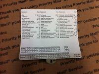BMW FUSE BOX LOCATION DIAGRAM CARD FOR GLOVE BOX E39 5 SERIES
