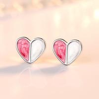 925 Sterling Silver Colourful Heart Stud Earrings Womens Girls Jewellery Gift UK