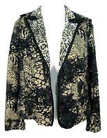 Chicos Jacket Sz 1 Womens Open Blazer Black Gold Animal Print Stretch (M 8 / 10)