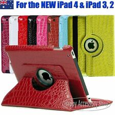 360°Rotate Crocodile Leather Case flip smart cover for the New iPad 4,iPad 3,2