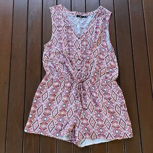 Sportsgirl Playsuit Romper Size 16 Colorful Pattern Summer Casual