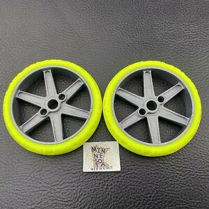 "2 Knex Narrow Neon Yellow Motorcycle Tires Wheels 2.25"" w/ Gray Hubs K'nex Parts"