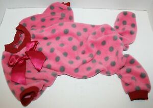 Fitwarm Polka Dots w/Bow Dog Velvet Winter Pajamas Jumpsuit - SMALL BREED