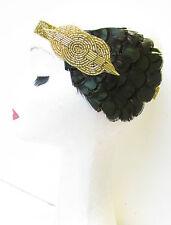 Dunkelgrün & Gold Feder Stirnband Vintage 1920er Jahre Kopfteil Flapper