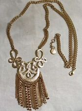"Jessica Simpson GT PinkCrystal Articulated Filigree Fringe Pendant 37"" Necklace"