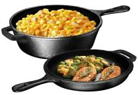 Bruntmor Cast Iron Dutch Oven Deep Fryer Pan Multi Cooker and Skillet Set 3 Qt