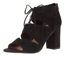 FRANCO SARTO Black Suede GAZELLA Lace Up Open Toe Ghiliie Sandal Bootie - Size 9