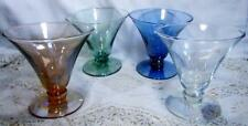 Set of 4 Blown Iridescent Glass Goblets Beautiful Blue, Green, Champagne, Clear