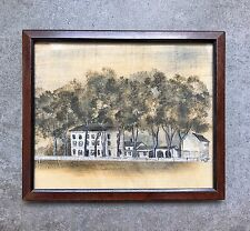 A Vintage Hand Painted Framed Miniature American Memorial Scene