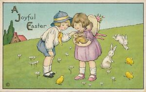 EASTER - Children Holding and Petting Rabbit - 1920