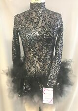 BLACK SEQUINED LACE & TULLE THEMED LYCRA DANCE COSTUME--SZ MED