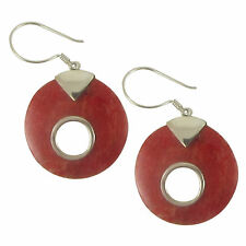 Trez .925 Silver Sterling Hand-Carved Genuine Red Coral Earrings 0401X
