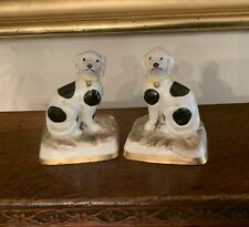 Pair Antique Miniature Staffordshire Dogs Figurines
