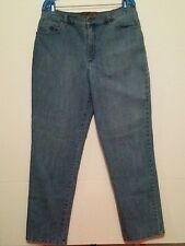 Gloria Vanderbilt womens stretch denim blue flat front 5 pocket jeans size 16