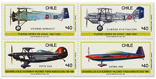 Chile 1990 Block 4 stamps - National Air Force -  Old Airplanes MNH