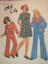 Sassy VTG 75 SIMPLICITY 7105 Girls Dress or Top & Pants PATTERN 8/27B